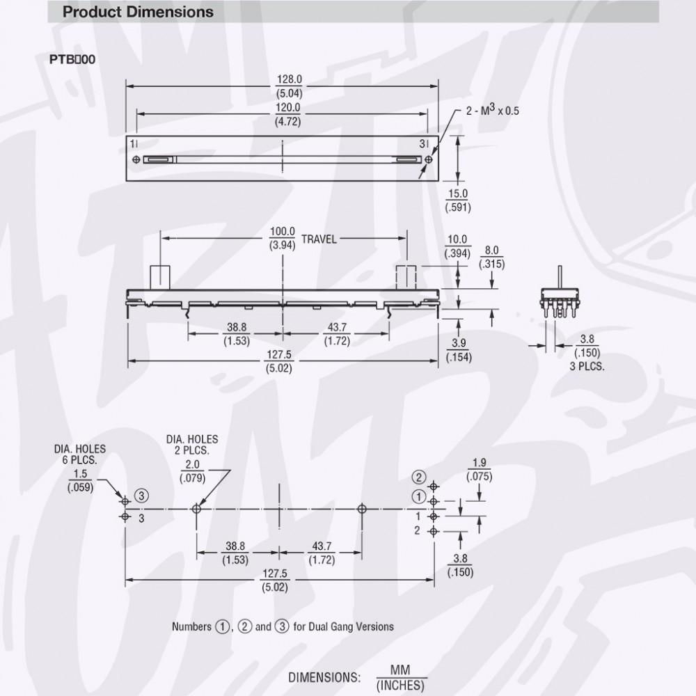 Potentiomètre linéaire 10 kohm 100mm